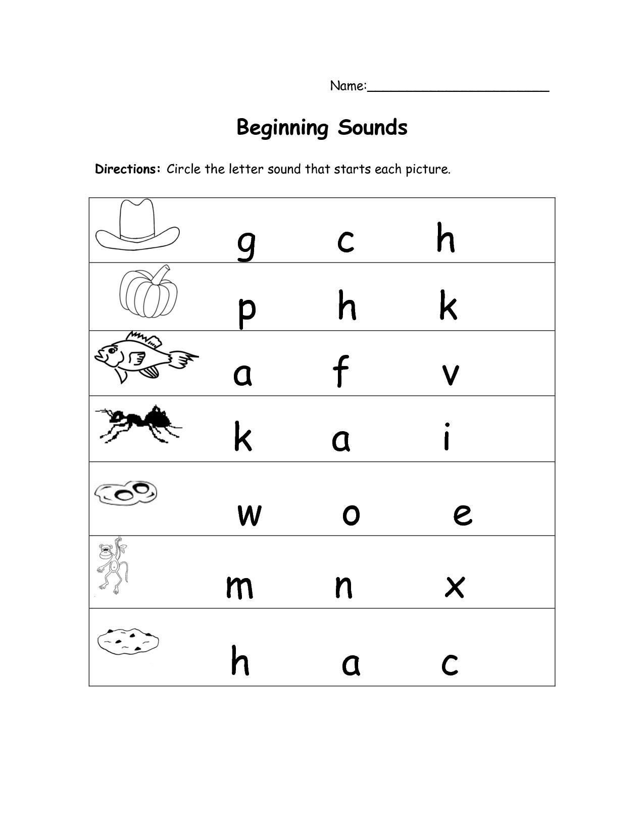 Free Kindergarten Worksheets Beginning Sounds