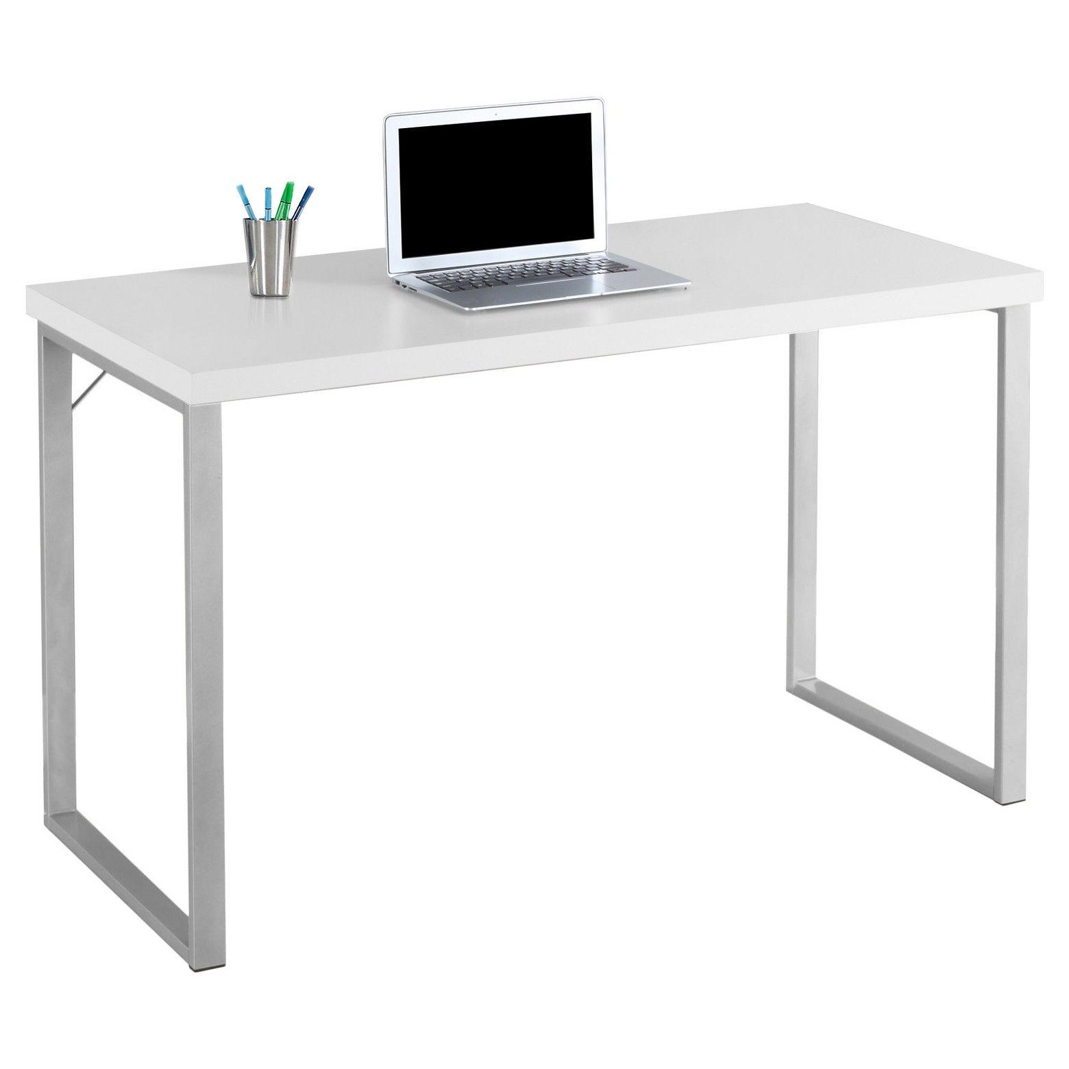 Contemporary Silver Metal Computer Desk White Everyroom Metal Computer Desk White Computer Desk White Desks