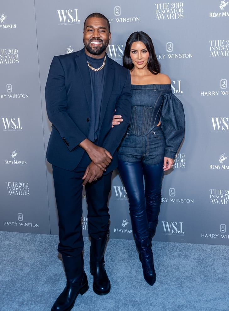 Kim Kardashian And Kanye West Were Twinning In Burberry S Version Of The Canadian Tuxedo Kim Kardashian And Kanye Kim And Kanye Kanye West Adidas