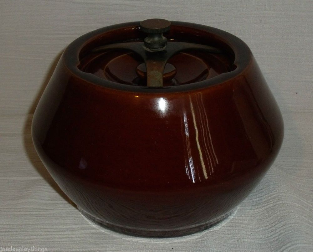 Cross Keys Humidor England Vintage Denby Brown Pottery Pipe Tobacco FREE US Ship #CrossKeys