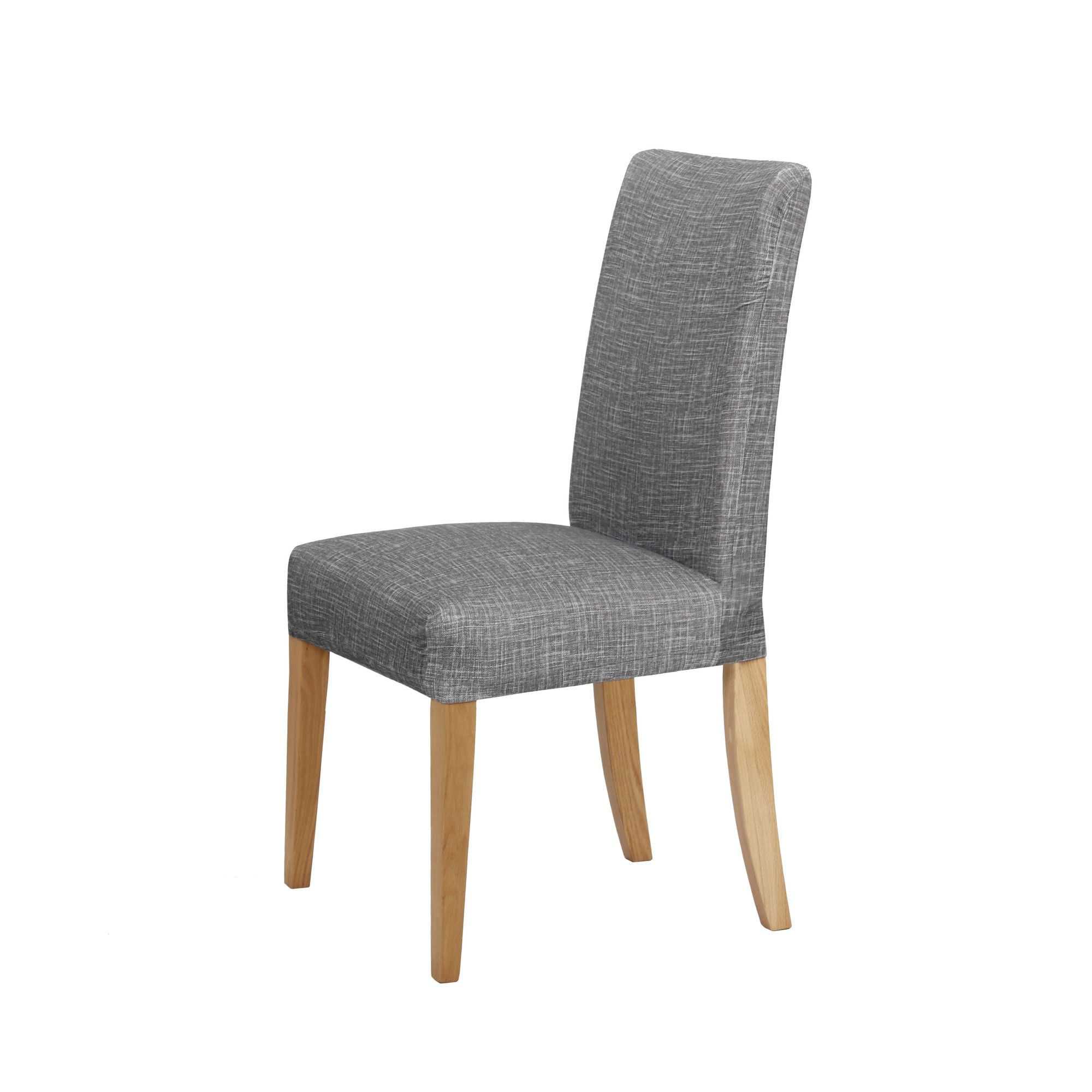 grey faux linen stretch dining room chair cover by euroluxe linen