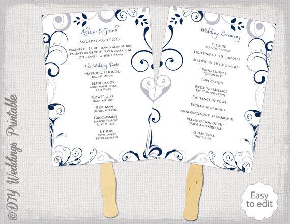 Wedding Program Fan Template Scroll Navy Silver Gray DIY Order