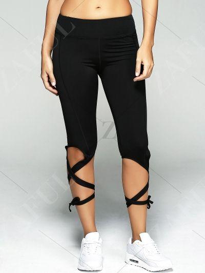 Lace Up Sport Pants BLACK: Active Bottoms | ZAFUL