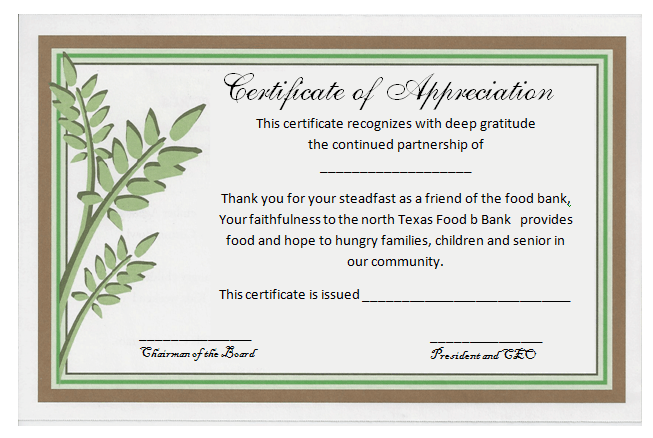 Doc1012786 Examples of Certificates of Appreciation Wording – Thank You Certificate Wording