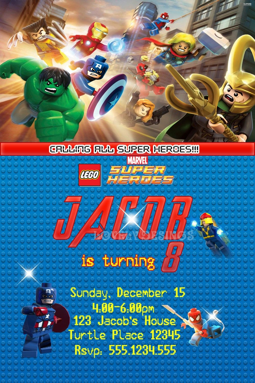 Lego Avenger Invitation Party Invitations Super Heroes Birthday Ideas Jpg 1000x1500 Avengers