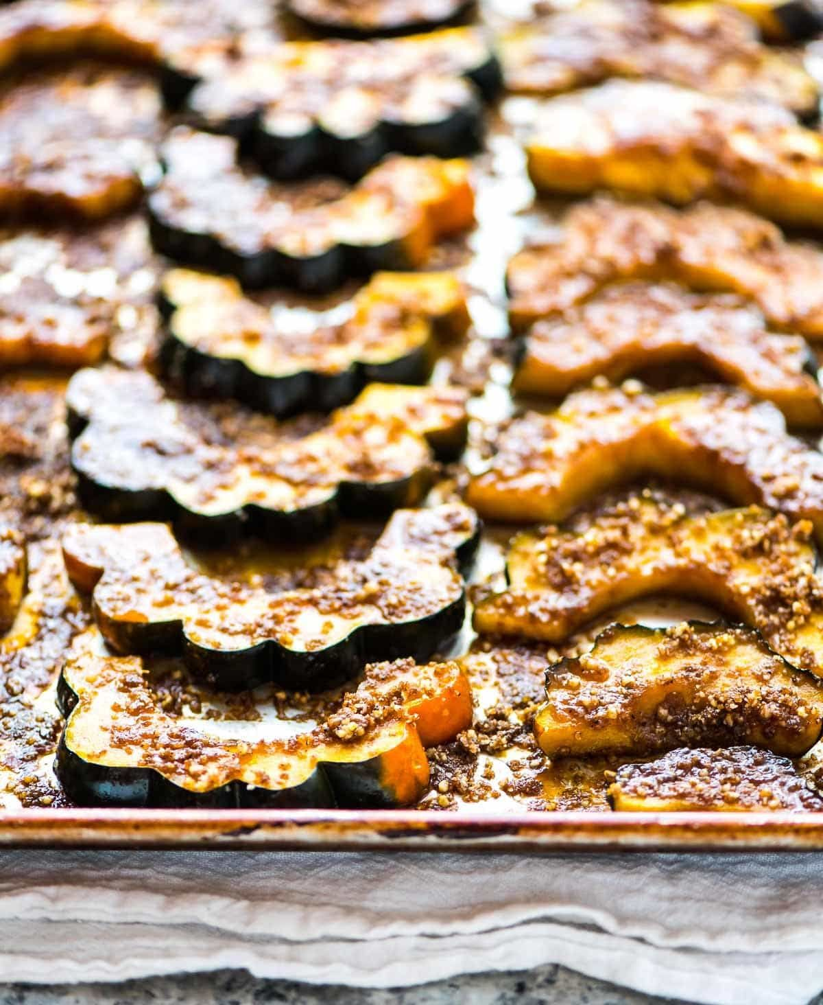 Baked Acorn Squash Slices With Brown Sugar And Pecans Simple And