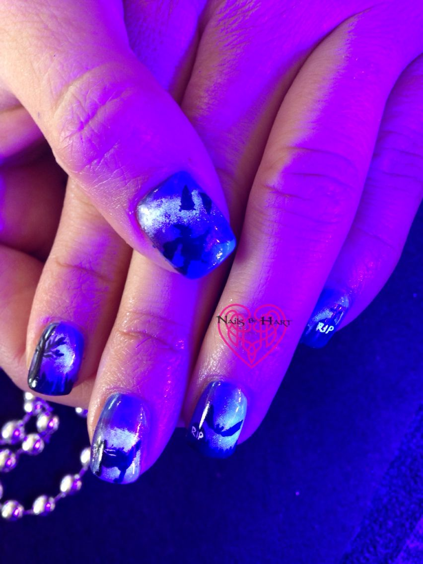 Hand painted Glow in the Dark Halloween Nails Nails by Katie Hart ...