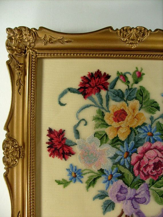 Antiques Nice Antique Likely Victorian Era Framed Needlepoint Of Flowers Possibly Daffodils Linens & Textiles (pre-1930)