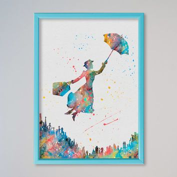 Mary Poppins Framed Watercolor Poster Art Print Printed Water