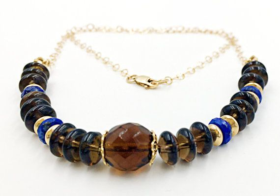 Smokey Quartz Gold Filled Chain Stones Necklace Lapis by MorMalas