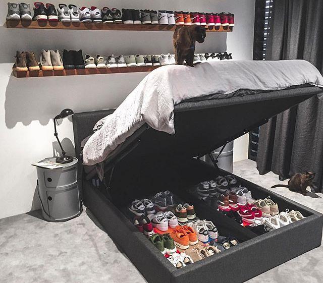 Sneaker storage goals modernnotoriety ethan kostromin for Jordan bedroom ideas