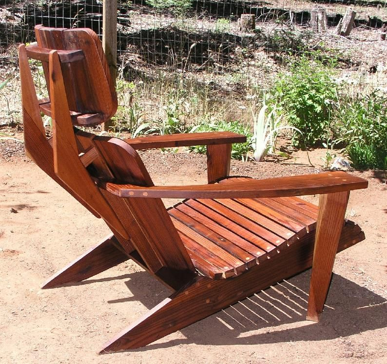 Mid Century Modern Adirondack Chair Reclaimed Redwood Etsy