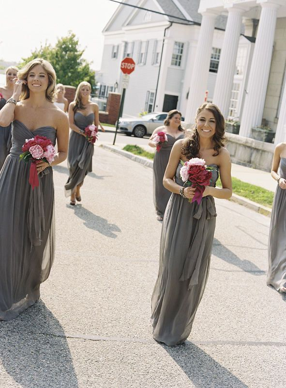 Long grey dresses for bridesmaids with crimson and pink flowers... beautiful!