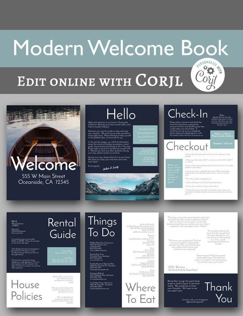 Modern Book 6 Page Vacation Home Printable Etsy