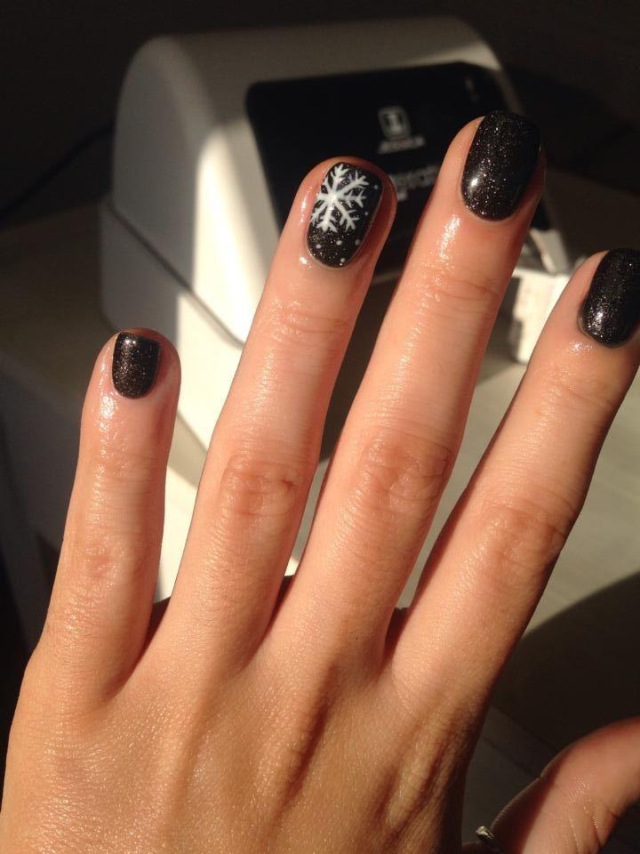 Geleration Black Ice With Snowflake Nail Art Created By Charlie Probert Christmas Nails Acrylic Snowflake Nail Design Xmas Nails