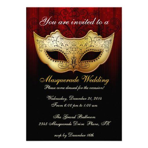 Masquerade Wedding Invitations: Masquerade Wedding Celebration Fancy Invitation