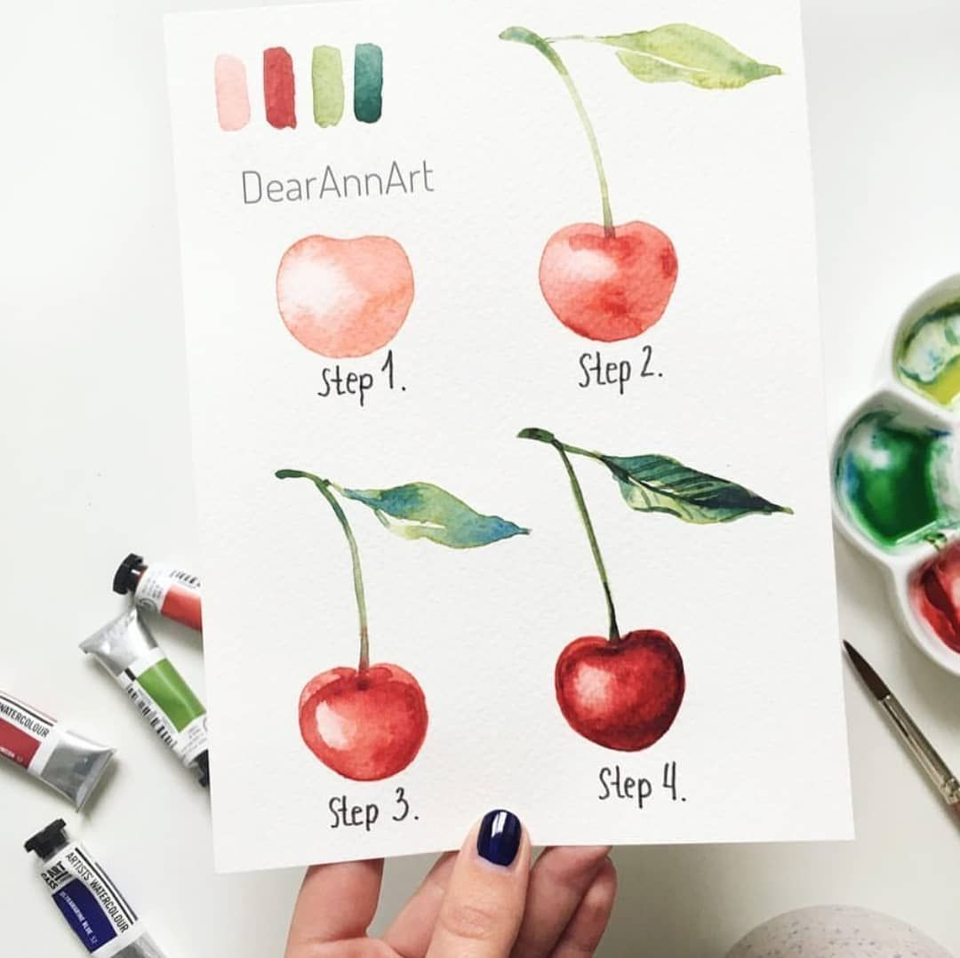 Watercolour Cherry Step By Step By Dearannart Shared By