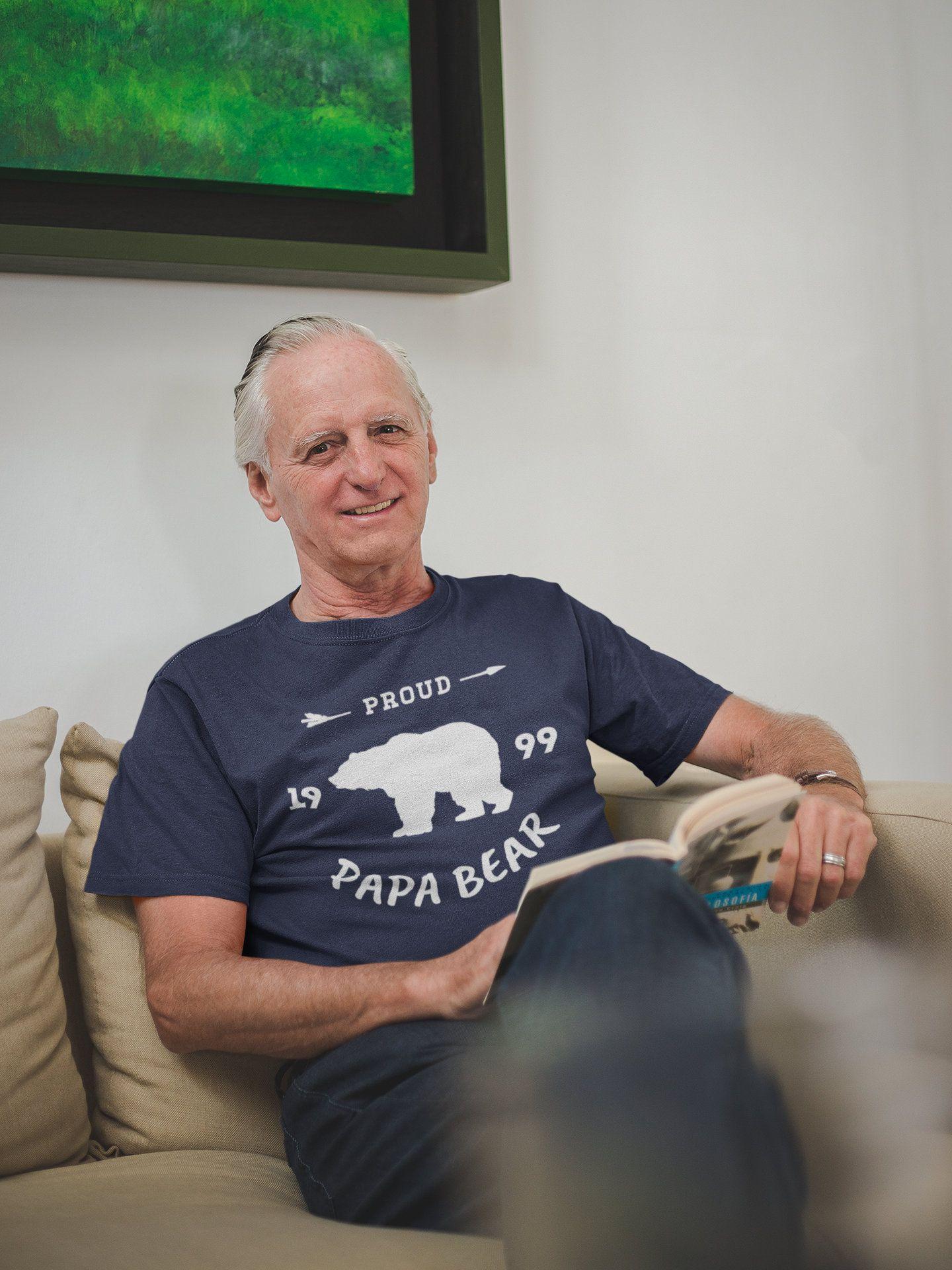 Men's Personalized Papa Gift EST. T-Shirt Proud Papa Bear Grandpa Gift Father's Day Shirts Papa Shirt Grandpa TShirt #papashirts