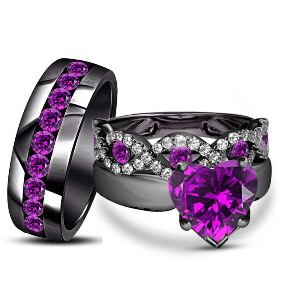 His Hers Purple Amethyst Black Gold Fn In Engagement Bridal Trio