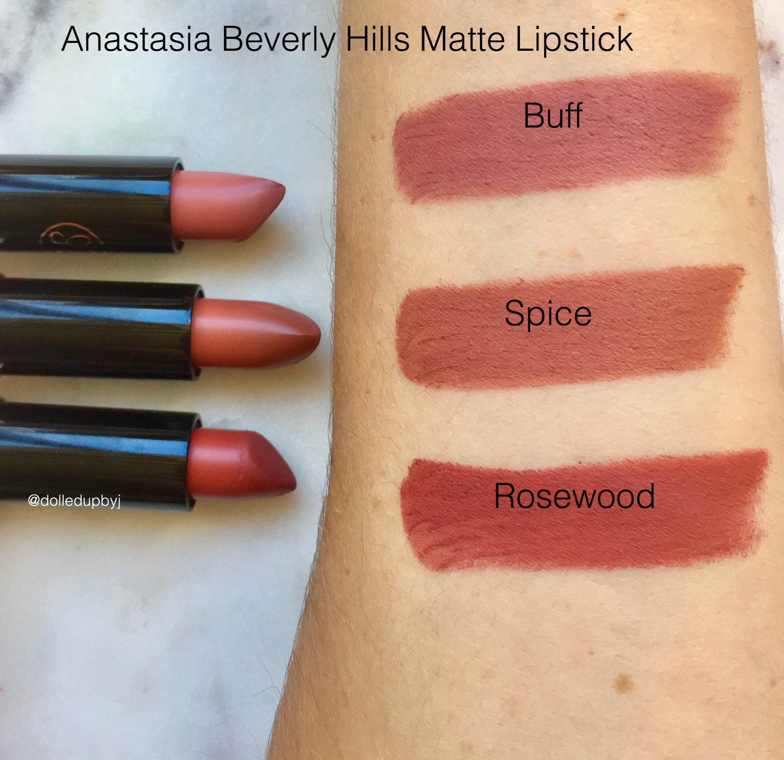 Anastasia Beverly Hills Matte Lipstick Review Swatches Dolled Up By J Lipstick Matte Lipstick Colors Anastasia Beverly Hills Lipstick