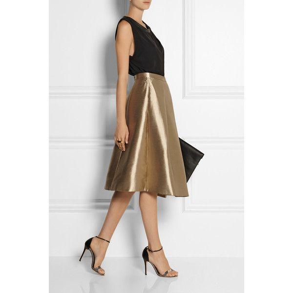 Halcyon metallic pleated taffeta skirt ($185) ❤ liked on Polyvore featuring skirts, taffeta skirt, pleated skirt, brown skirt, tibi and metallic skirts