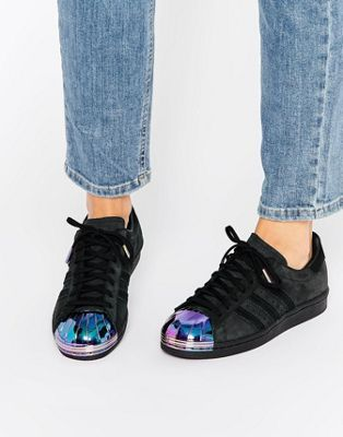 adidas Originals Black Superstar Sneakers With Holographic