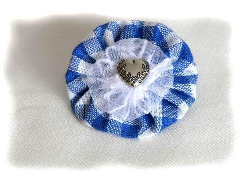 Anstecker Weiß-Blau, Brosche zum Oktoberfest TX 14 via dawanda Alpen-Juwel
