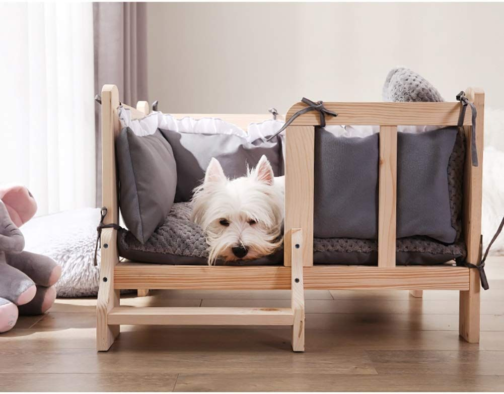 Lxla Pet Wood Dog Bed With Guardrail Deluxe Elevated Pet Bed Frames Removable Washable Cover Size Xl 100 70 45cm Elevated Dog Bed Dog Bed Frame Pet Sofa Bed