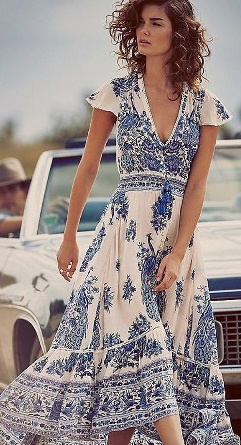 dab66fcf7e56 Porcelain Print Maxi Dress Source. V-Neck Cap Sleeves Drawstring Retro Floral  Printed Dress  maxidressessummer Bohemian Style ...