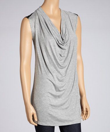 Take a look at this Gray & Black Sleeveless Drape Tunic by Pure and Simple on #zulily today! $40 !!