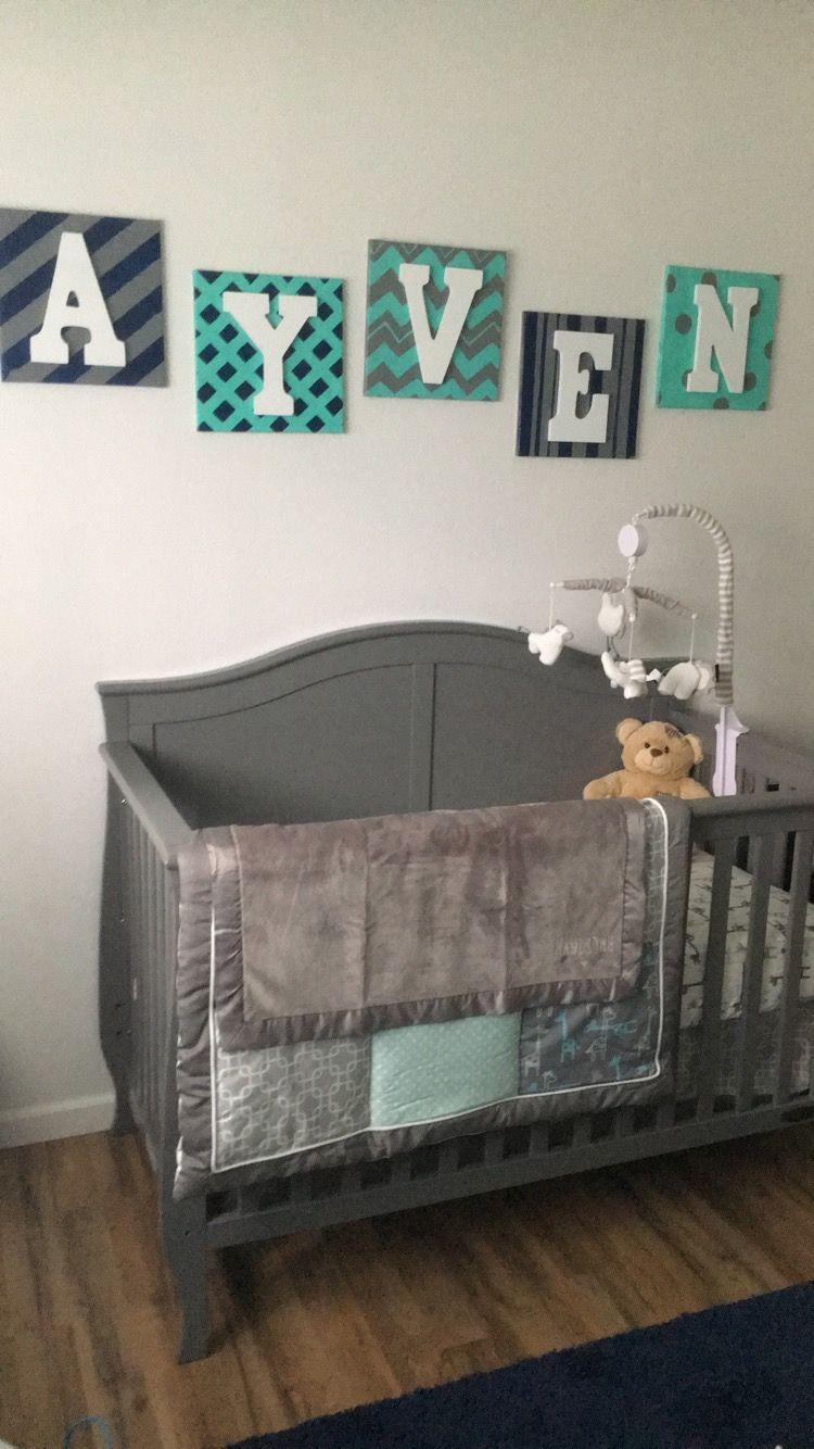 Baby Boy Cribs: Baby Boy Nursery Crib Set Decor Animals Grey Blue