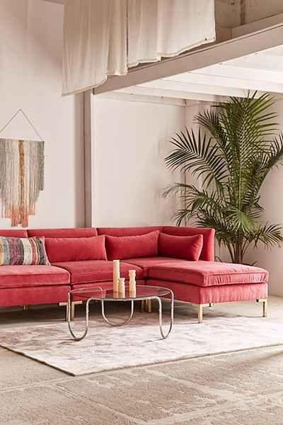 Cecilia Velvet Sectional Sofa Colourful Living Room Decor Sofa
