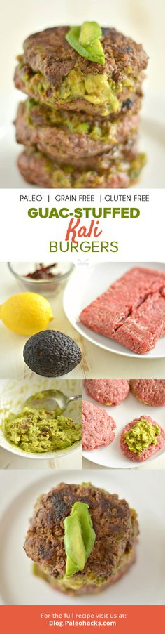 Calling all avocado lovers! These guac-stuffed Kali burgers are just what your taste buds deserve. For the full burger recipe visit us here: http://paleo.co/guacburgers