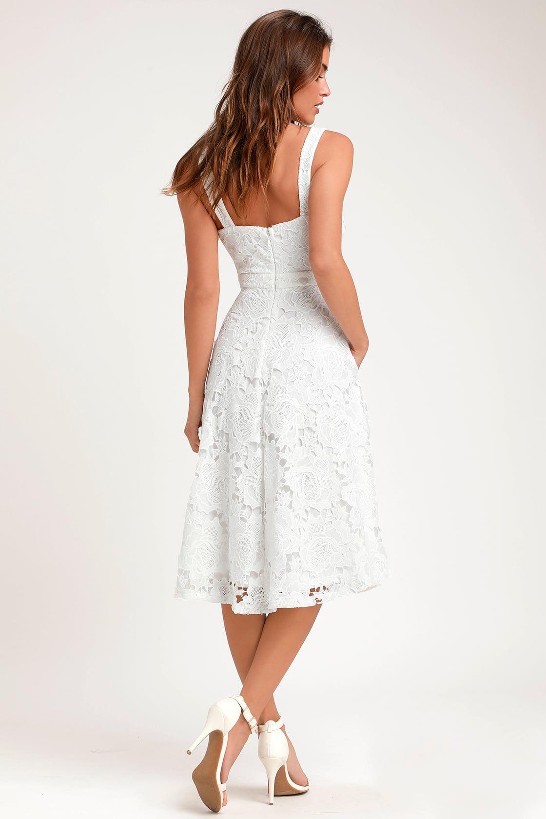 Divine Beauty White Lace Midi Dress White Lace Midi Dress White Dresses For Women White Cocktail Dress [ 1680 x 1120 Pixel ]