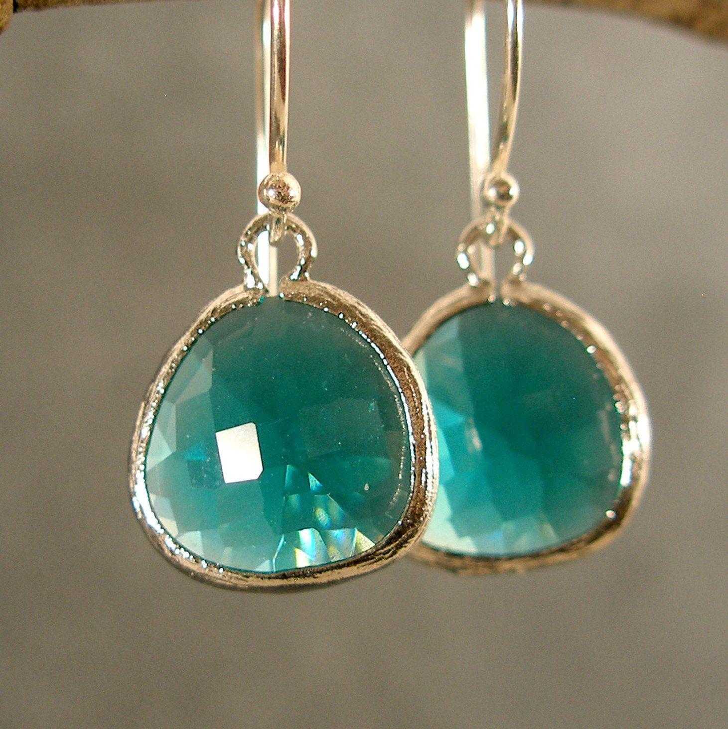Teal Green Glass Silver Earrings,  $22.00, via Etsy.