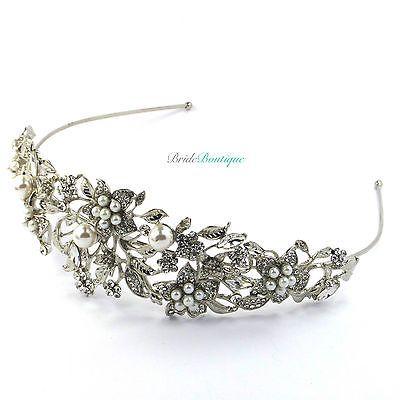 Bridal-Wedding-Vintage-Style-Crystal-Pearl-Silver-Leaf-Flower-Tiara-Headband