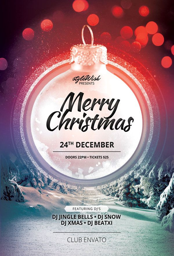Merry Christmas Flyer Template (Buy PSD layout for 9