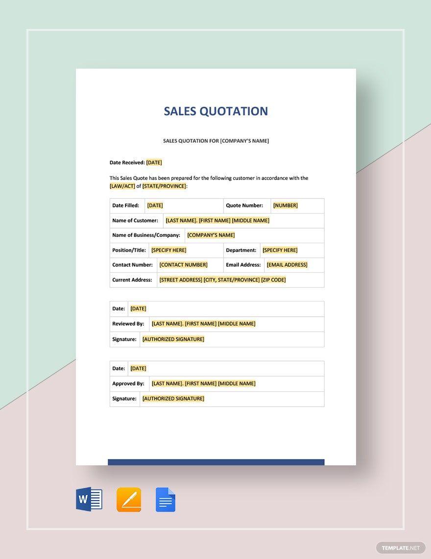 Sales Quotation Template Word (DOC) Google Docs