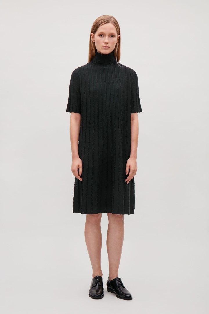 60dd835f1c8a78 COS image 1 of Knitted dress with scalloped pleats in Black Werk Garderobe