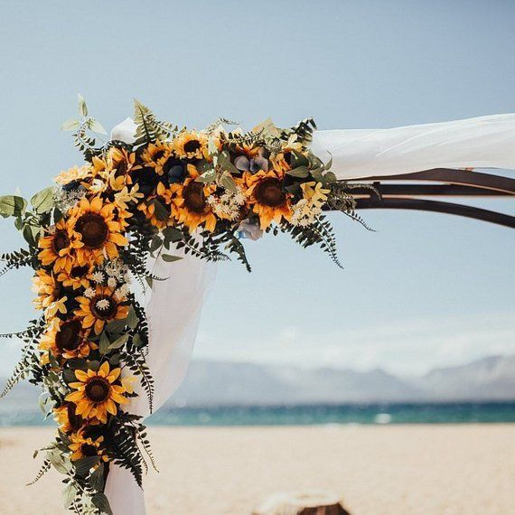 Wedding Garland,Sunflower Swag, Wedding Backdrop, Wedding Arch Flowers, Extra Large Wedding Swag, Silk Arch Flowers, Corner Wedding Swag