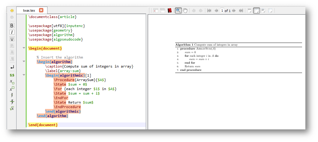 pseudocode  algorithm editor