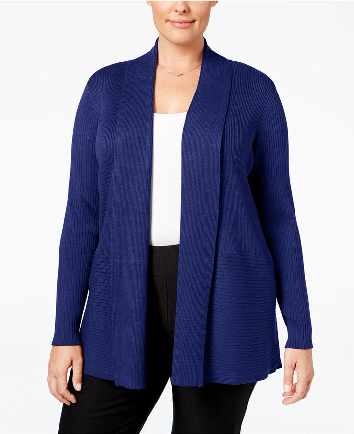 JM Collection Womens Black Studded Open Front Cardigan