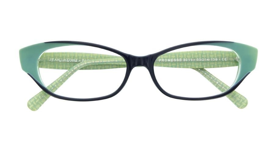 87341c681a7 Lafont Promesse c.3011 Eyeglasses Lafont Promesse frame is oval shaped and  the front of the eyeglass is navy with light green accents at the edges.