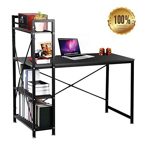 Dripex Christmas Deal Steel Frame Wooden Home Office Table 4 Tier Diy Storage Shelves Computer Home Office Table Diy Storage Shelves Home Office Furniture