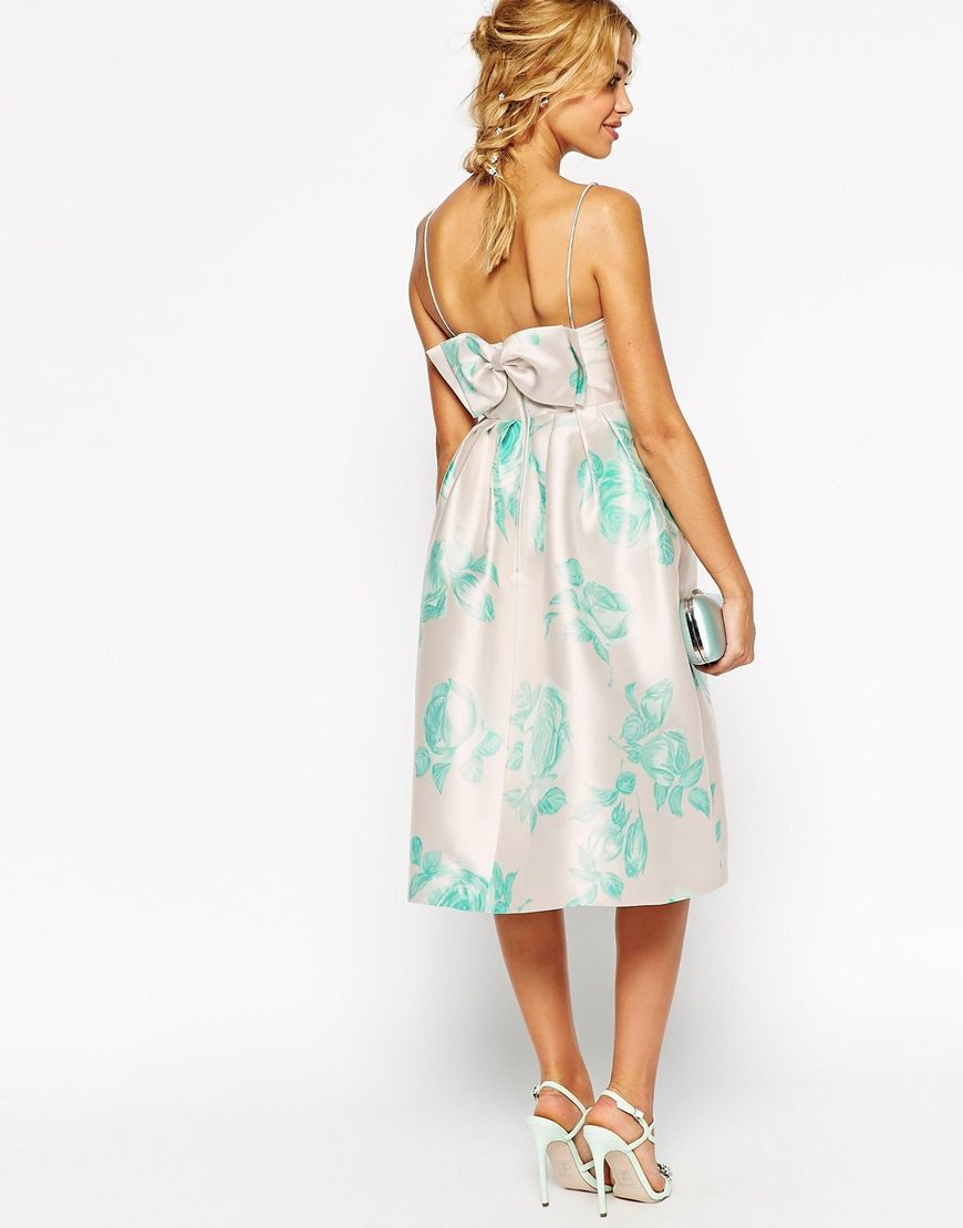 Image 1 of ASOS WEDDING Structured Prom Dress With Bow Back In Mint ...
