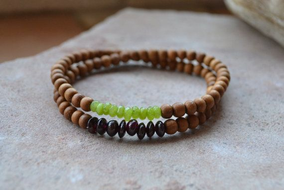 Itty Bitty Sandalwood Wrap Bracelet Peridot by GratefulHeartBazaar
