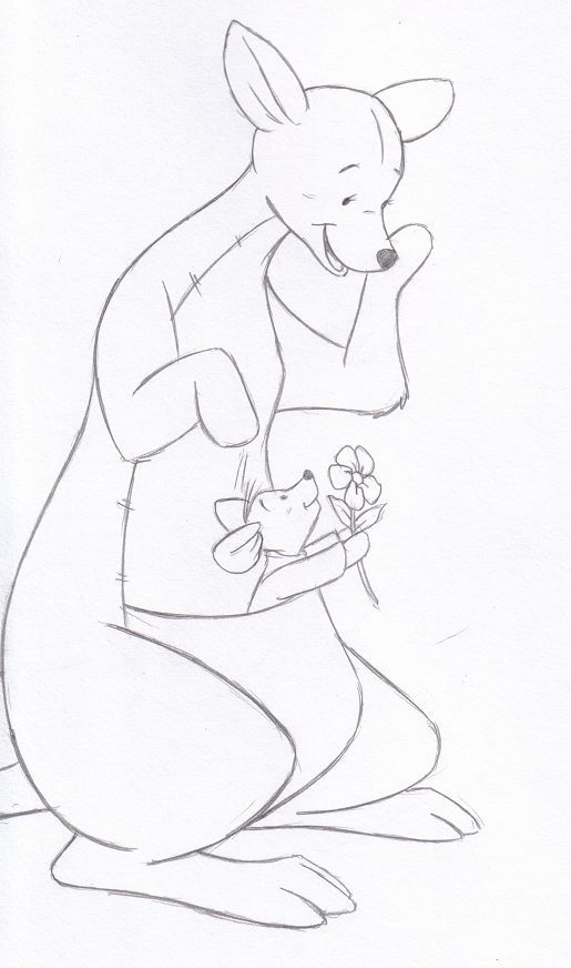 Hand Drawn Kanga And Roo Winnie The Pooh Drawing Easy Disney