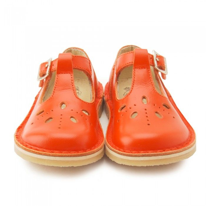 Lottie III, Orange Leather Girls Buckle