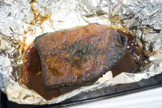 """Oven """"Smoked"""" Beef Brisket. I made this with Dr Pepper marinade (found near liquid smoke & BBQ sauces). It's a hit! The key, as most people know, """"low and slow"""""""