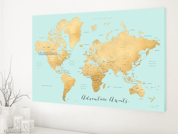 World map canvas print in aquamarine and gold featuring the quote world map canvas print in aquamarine and gold featuring the quote adventure gumiabroncs Image collections